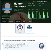 Miner Baseball's Gautreaux Earns National Award